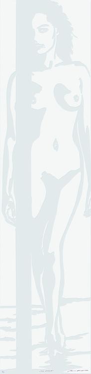 Linolschnitt: Am Strand (geprägt)