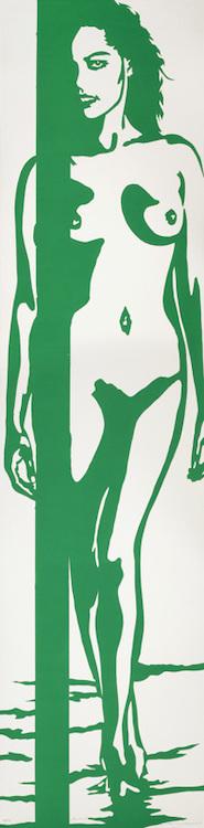 Linolschnitt: Am Strand (grün)