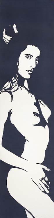 Linolschnitt: Gruezi (dunkelblau)